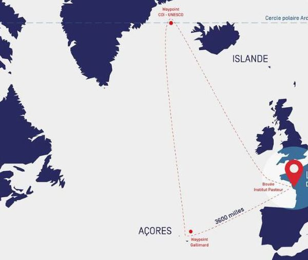La carte du parcours de la Vendée-Arctique-Les Sables d'Olonne, course qualificative pour le Vendée Globe 2020
