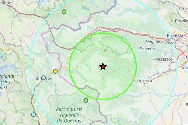 L'epicentre du tremblement de terre se situe dans les Alpes italienne, à l'Est de Sestrières