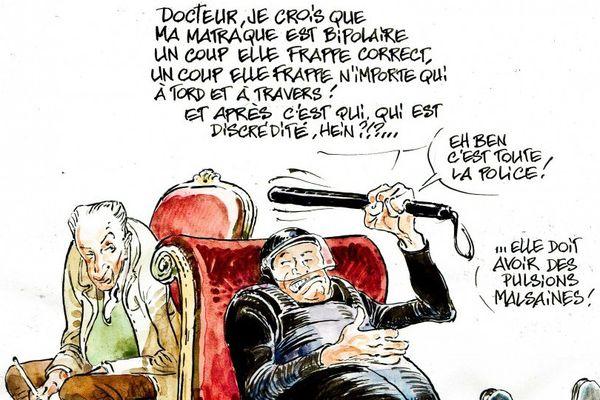 """Le nouveau dessin de François Boucq, """"Thérapie policière"""" publié hier sur son compte twitter."""