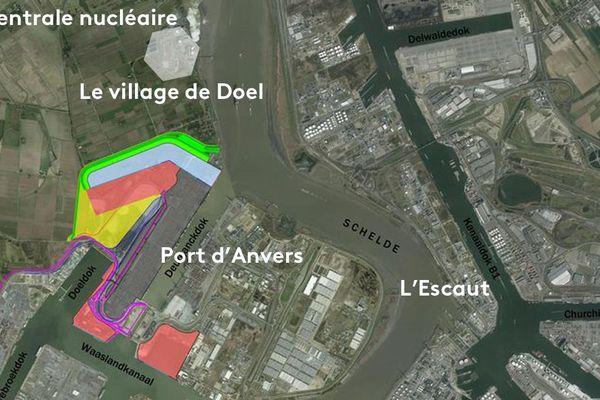 Plan de la zone autour de Doel. Vu du ciel