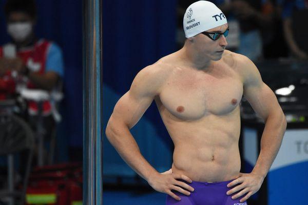 Le nageur Maxime Grousset lors de la demi-finale du 100 mètres nage libre aux JO de Tokyo 2021