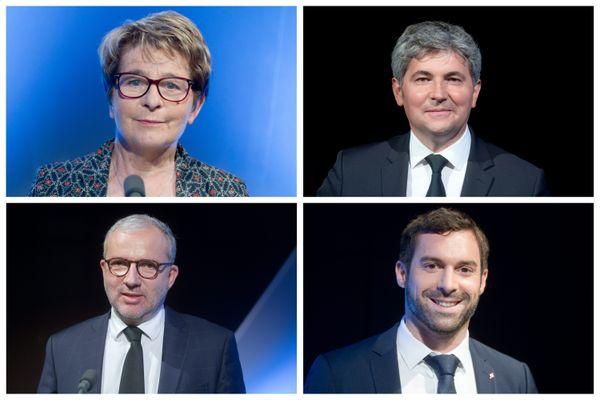 Marie-Guite Dufay, Gilles Platret, Denis Thuriot et Julien Odoul, lors du débat de France 3 Bourgogne-Franche-Comté le 9 juin 2021.