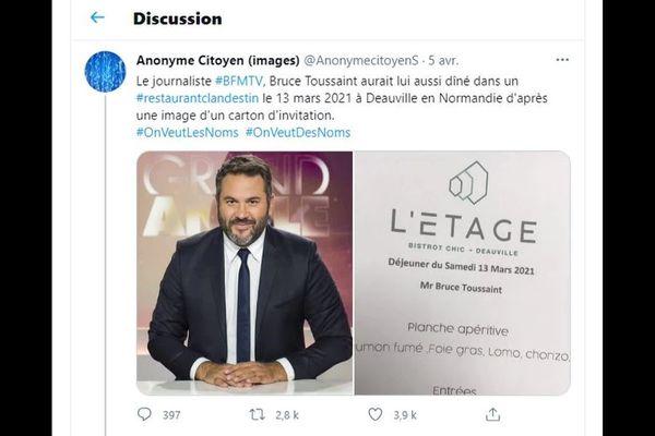 Un compte anonyme twitter mettait en cause Bruce Toussaint, journaliste sur BFMTV