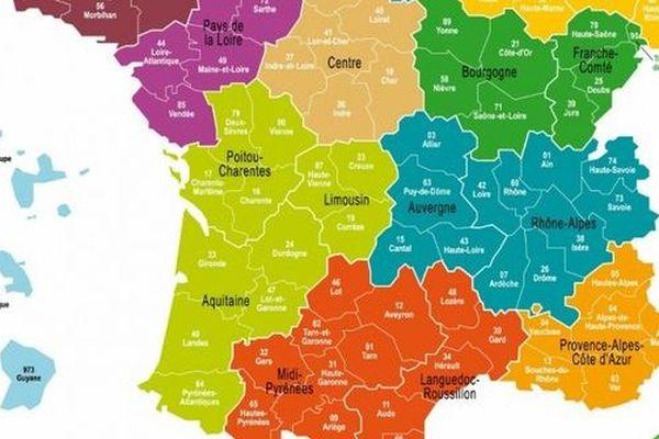 carte de france des 13 régions