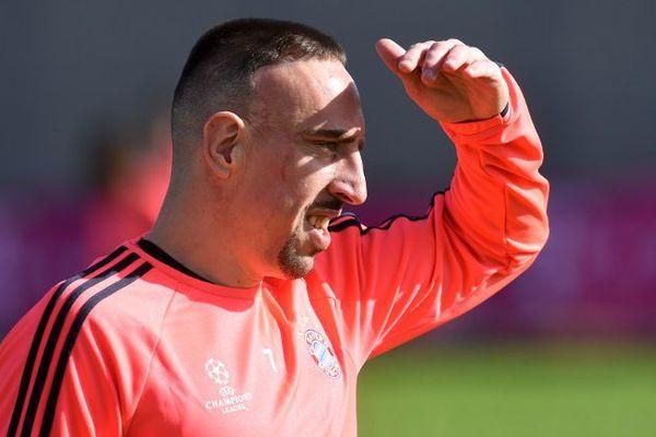 Franck Ribéry ce lundi à l'entraînement au Bayern Munich.