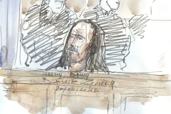Jérémy Bailly, le 20 avril 2017, lors du procès de la filière jihadiste de Cannes-Torcy qui se déroule à Paris