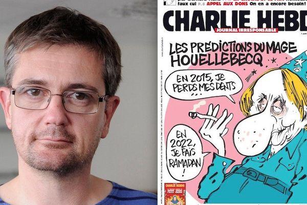 Charb en 2012 et la couverture de Charlie en date du 7 janvier 2015