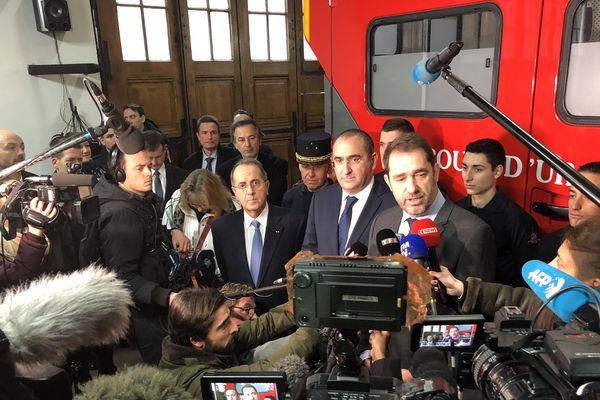 Christophe Castaner, ministre de l'Intérieur, en visite à la caserne Rousseau, à Paris le 31 décembre 2018.