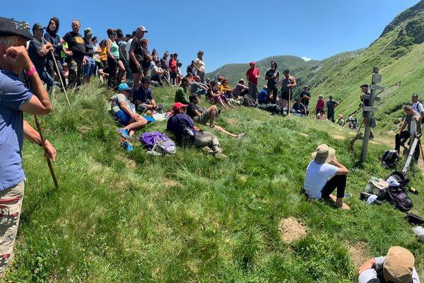 Environ 150 éleveurs se sont rassemblés en estive en Ariège ce 12 juillet 2019 pour dire leur opposition à la réintroduction des ours dans les Pyrénées.
