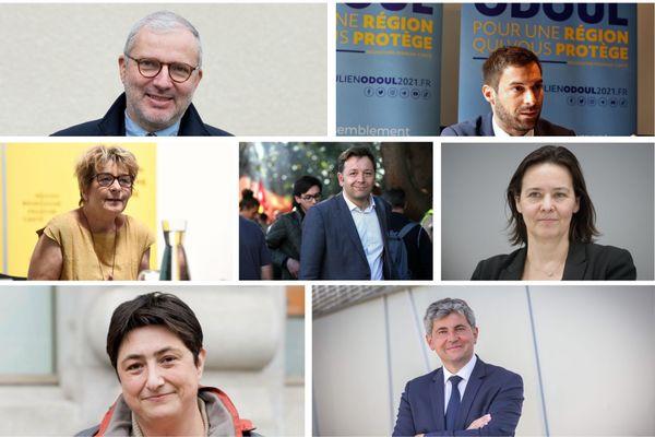Les sept têtes de liste dans la région Bourgogne-Franche-Comté