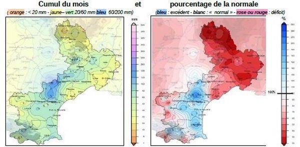 cumul de précipitations en septembre