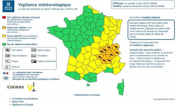 9départements placés en vigilance orange aux orages par Météo-France, samedi 15 juin.