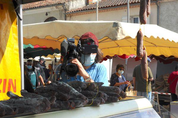 tournage sur le marché de Nérac (47)