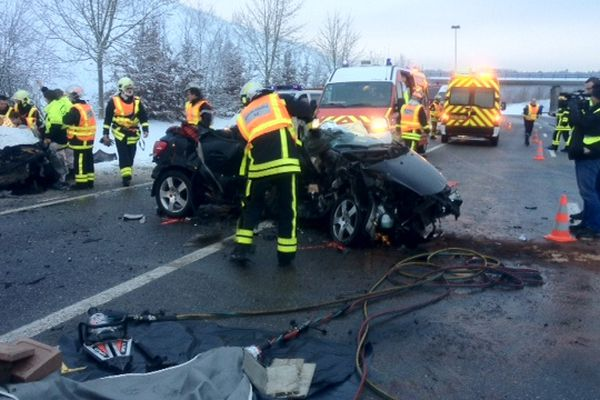 Carambolage lundi 21 janvier 2013 à Maizières (54).