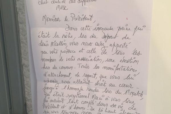 La lettre rédigée par Colette Nicollin deux mois après la mort de son mari. Elle tenait à remercier le Club Central pour son rôle dans la vie de Louis et plus généralement au sein du club.
