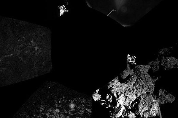 La première image panoramique prise par Philae à la surface de la comète.