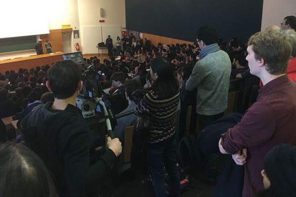 Assemblée générale rassemblant enseignants et étudiants à la Faculté des sciences pour dénoncer les frais d'inscription des étudiants étrangers, mardi 29 janvier 2019 à Nancy (Meurthe-et-Moselle).
