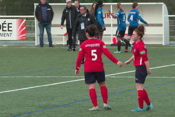 Joueuses de l'ESOF lors des 16ème de finale de la coupe de France contre Arras, le 12 janvier 2020