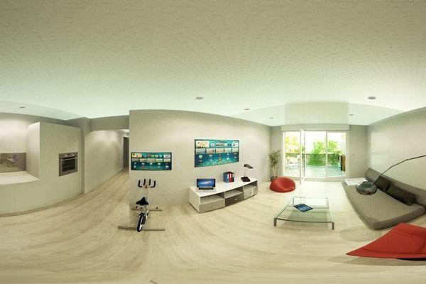 Reconstitution 3D de l'appartement montpelliérain intelligent où les gestes des deux étudiantes sont captés en permanence.