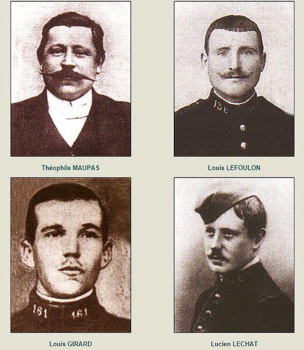 Les quatre caporaux de Souain fusillés pour l'exemple en 1915,