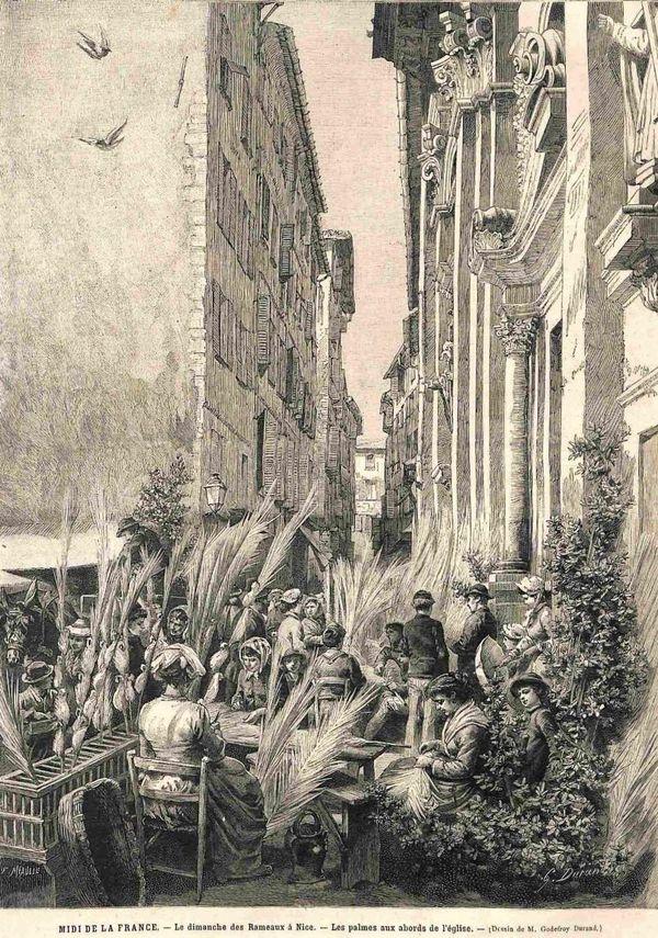 Gravure des Rameaux à Nice place Rossetti devant la Cathédrale en 1900