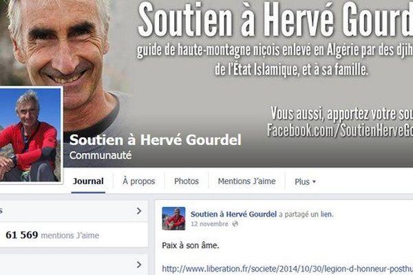 La Une de la page de soutien à Hervé Gourdel.