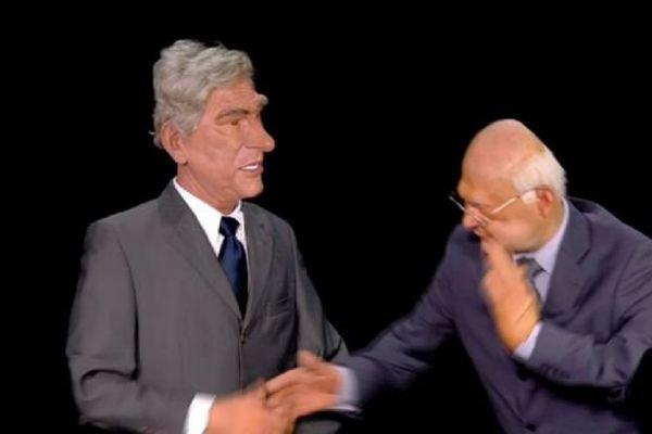 François Rebsamen et Michel Sapin aux Guignols de l'info sur Canal + jeudi 3 avril 2014