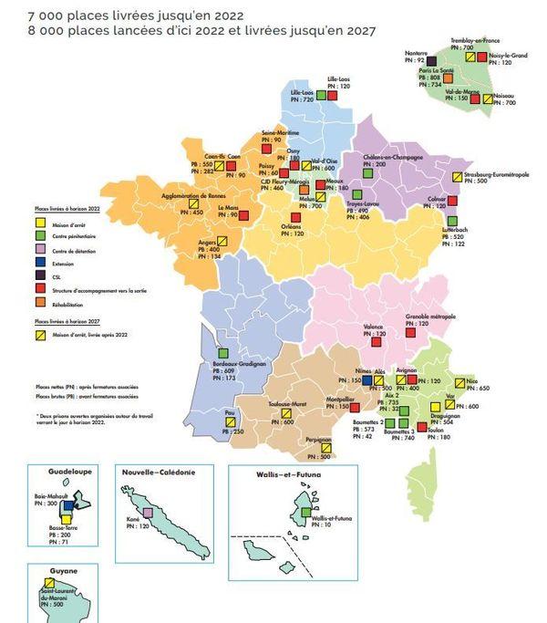 Carte des nouvelles places de prison en France.