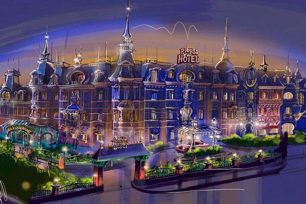 Le premier dessin de l'hôtel qui va être intégré au parc d'attractions Plopsaland