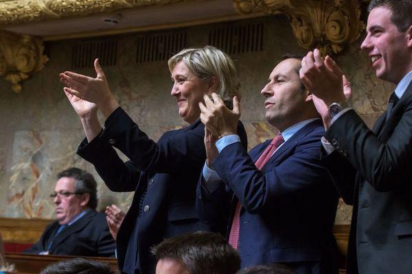 Les députés Rassemblement National, en mars 2018 à l'Assemblée nationale.