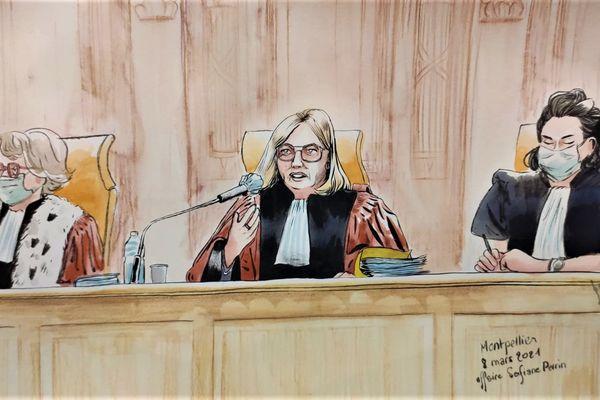 La présidente de la cour d'Assises de Montpellier, où s'ouvre le procès des accusés du meurtre de Sofiane Perrin, cinq ans après les faits.