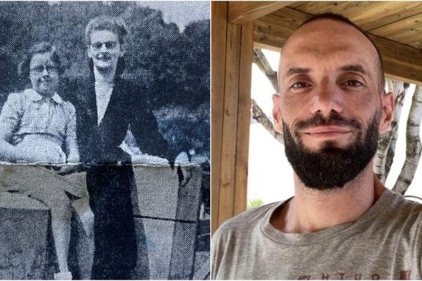 A gauche, la photo de la résistante (en tailleur noir) et à droite Mickael Pinot, qui recherche la trace de cette résistante.