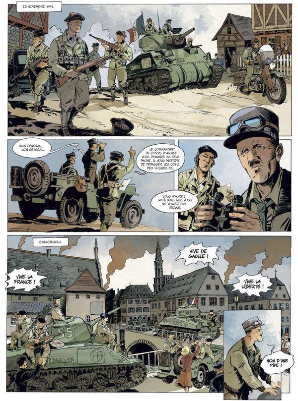 Le serment de Koufra : libérer la France jusqu'à Strasbourg - planche extraite des compagnons de la Libération