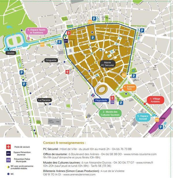 Le plan des sites de la feria et de la circulation dans le centre-ville - 2019.
