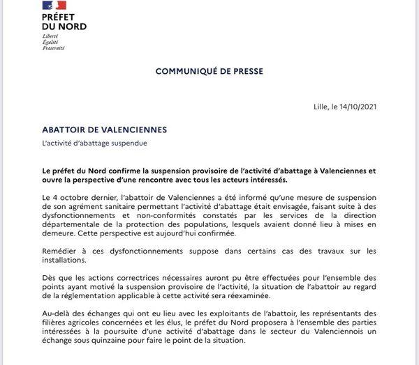 Le communiqué confirmant la fermeture administrative de l'abattoir de Valenciennes