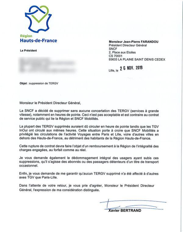 Le courrier envoyé par Xavier Bertrand au PDG de la SNCF