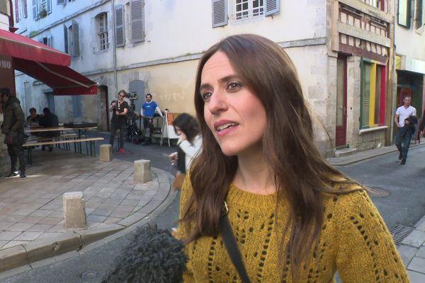 """L'actrice de la série à succès """" la Casa Del Pape """", Itziar Ituño alias Lisboa, tourne un clip à Bayonne contre les violences sexistes."""