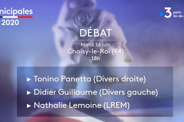 Les trois candidats à Choisy-le-Roi, Tonino Panetta, Didier Guillaume et Nathalie Lemoine ont participé au débat ce mardi.