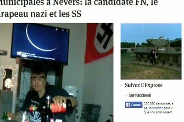 Une candidate de la liste Front national à Nevers figure sur plusieurs photos devant un drapeau nazi sur sa page Facebook
