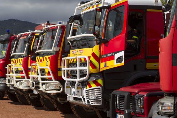 Démonstration des moyens mis en place par le gouvernement pour lutter contre les incendies pendant le déplacement du ministre de l' intérieur Christophe Castaner le 5 juin dernier.