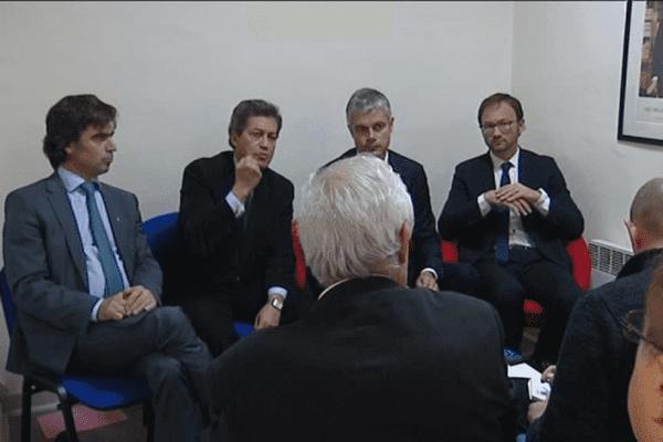 Laurent Wauquiez, Georges Fenech (LR), Patrick Mignola (MoDem) et Eric Fournier (UDI) - Lyon, le 21/11/15