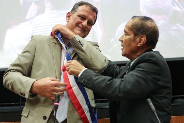 Louis Aliot le 5 juillet, après avoir été officiellement élu maire de Perpignan.