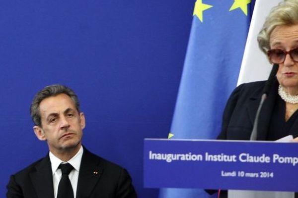 Inauguration de l'institut Claude Pompidou par Bernadette Chirac, en présence de Nicolas Sarkozy