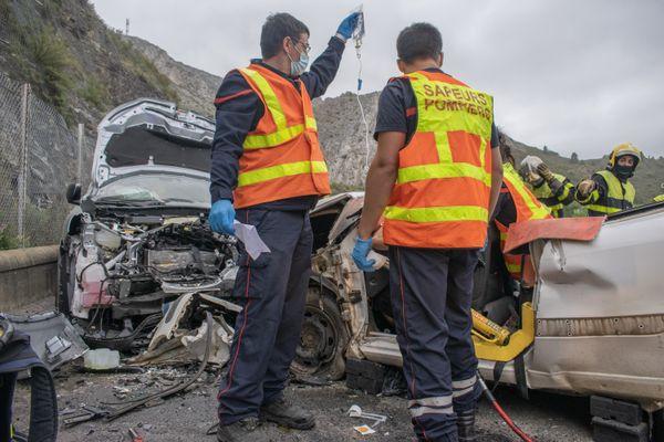 Un accident de la route à Cases-de-Pêne dans les Pyrénées-Orientales. 2021.