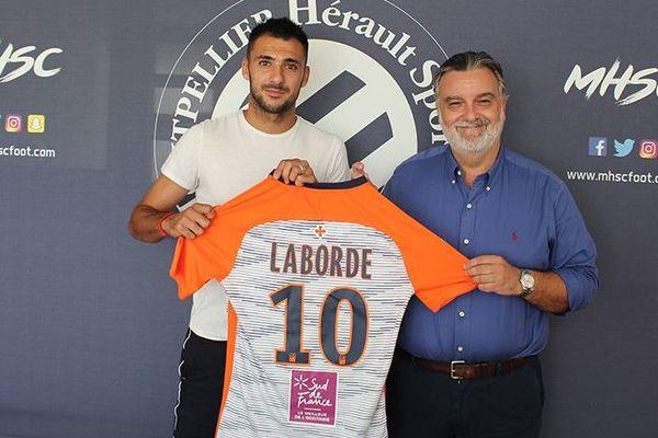 L'attaquant Gaëtan Laborde en partance de Bordeaux, s'est engagé pour quatre saisons avec le club héraultais - 16 août 2018.
