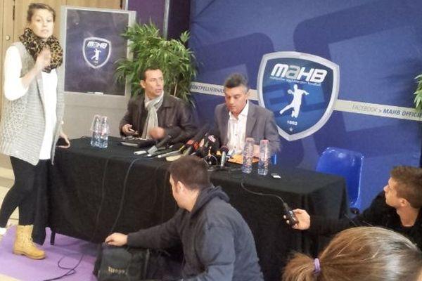 Montpellier - Patrice Canayer entraîneur du MAHB et Rémy Lévy président du MAHB durant la conférence de presse du club - 30 octobre 2012.