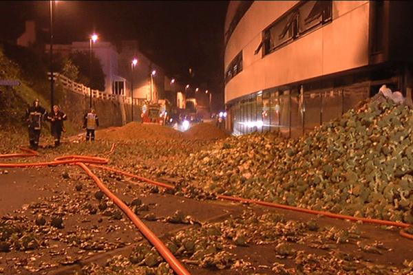 Les artichauts jonchent le sol devant le centre des impôts incendié à Morlaix