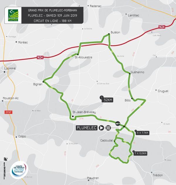 Carte du circuit du Grand Prix de Plumelec 2019