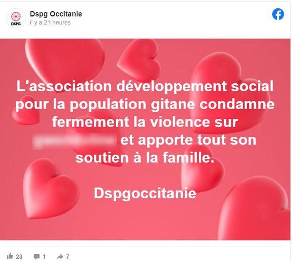 Capture d'écran du message de l'association DSPG Occitanie après l'agression d'une jeune fille à Béziers (le prénom a été flouté)