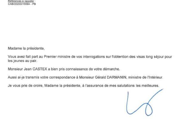 Ce courrier, du 22 janvier 2021, vient cette fois du cabinet du Premier ministre.